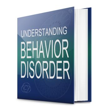 Illustration depicting a text book with a behavior disorder concept title. White background.