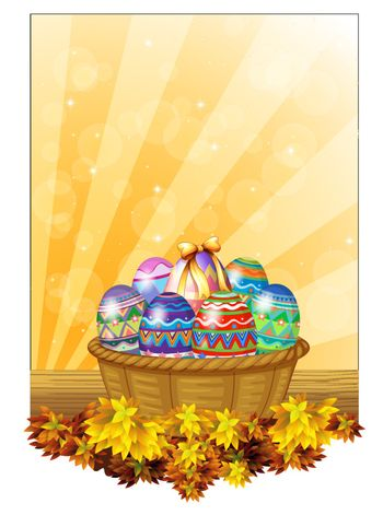 Illustration of the easter eggs in a basket on a white background