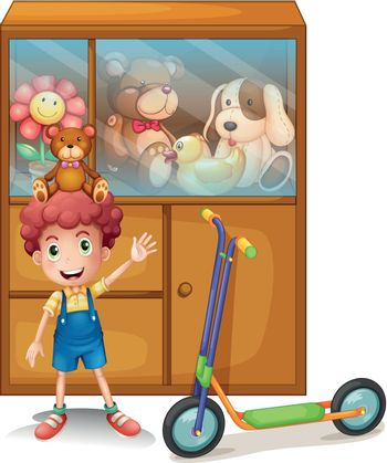 A boy and his scooter in front of his toy collections