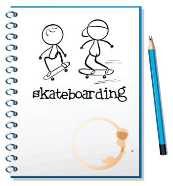 Illustration of a notebook with two people skateboarding in the cover on a white background