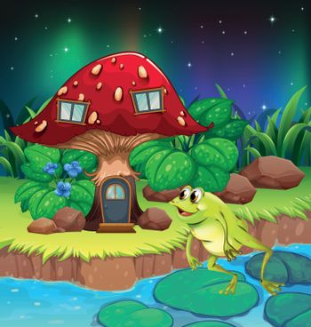 A frog jumping near the red mushroom house