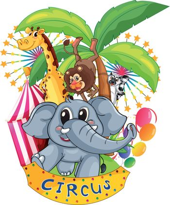 Illustration of the animals in the circus on a white background