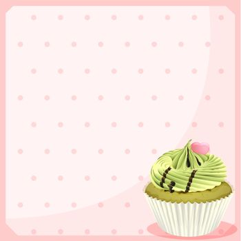 An empty stationery with a mocha cupcake