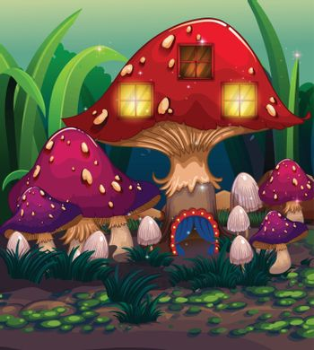 A big mushroom house with a blue curtain