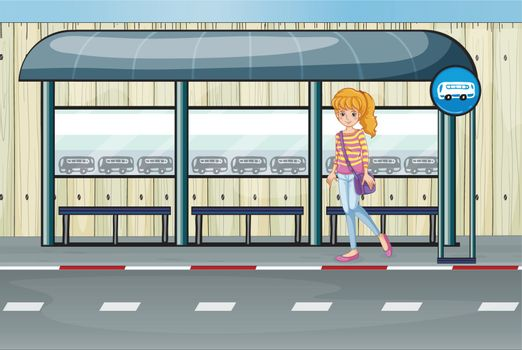 Illustration of a girl at the bus stop