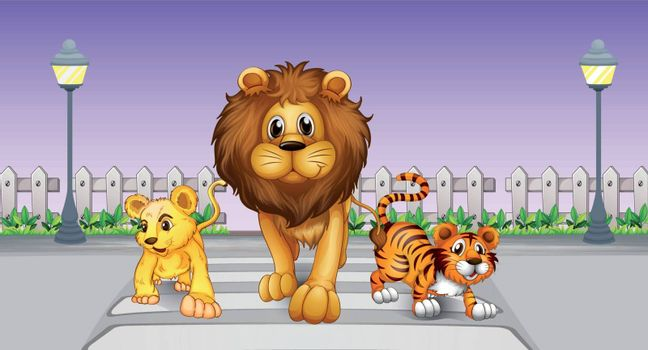 Illustration of wild animals in the street