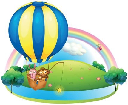 Illustration of a hot air balloon with three animals on a white background