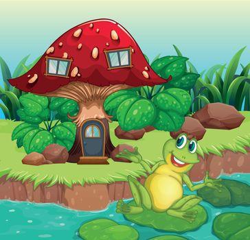 A frog and a mushroom house