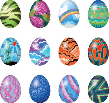 Illustration of the colorful easter eggs on a white background
