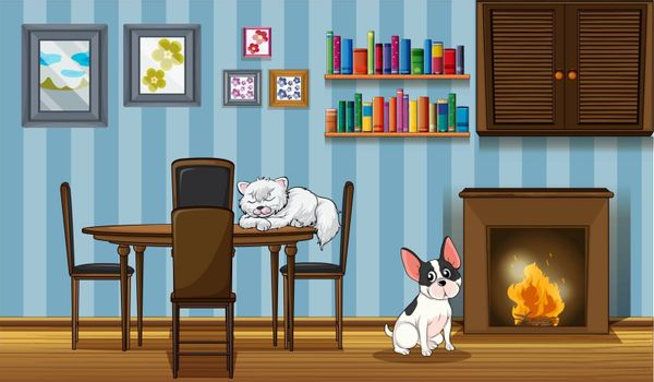 Illustration of the pets inside a house near the fireplace