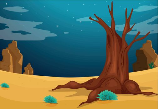 Illustration of a desert with a big tree