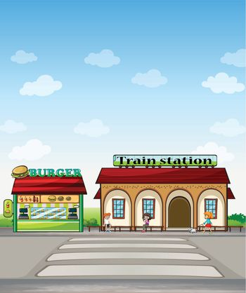 A burger junction and a train station