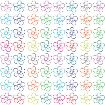 Illustration of a seamless flowery design on a white background