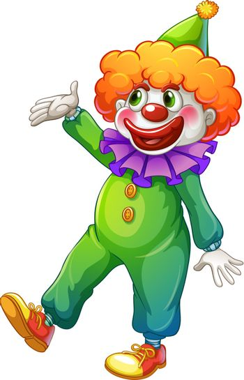 Illustration of a clown wearing a green costume on a white background