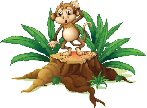 Illustration of a monkey standing on the stump with leaves on a white background