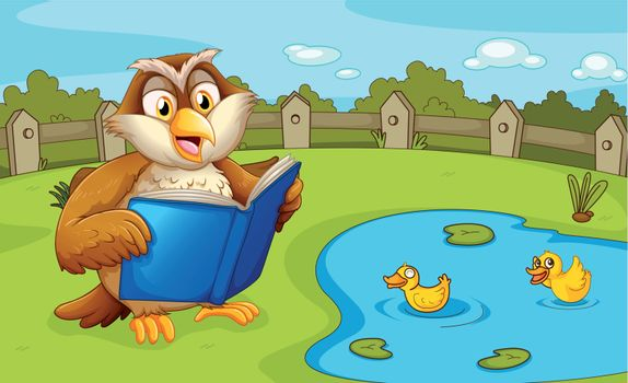 Illustration of an owl reading near the pond