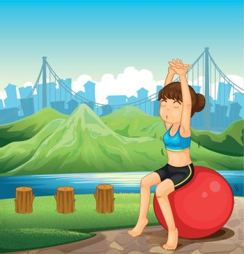 Illustration of a girl exercising near the river across the mountains