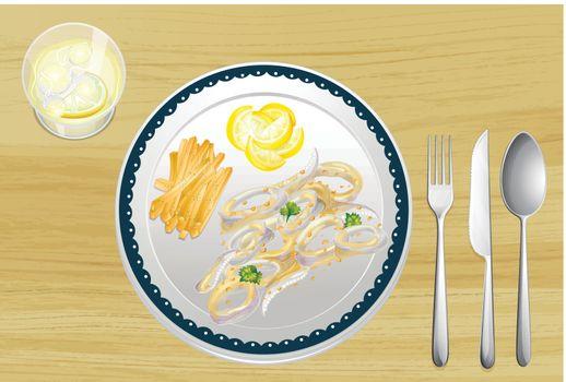 Illustration of a set of dining utensils