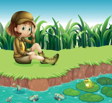 Illustration of a girl wearing a hat sitting at the riverbank