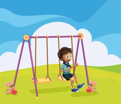 Illustration of a young boy swinging