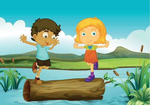 Illustration of a girl and a boy above a trunk floating in the river