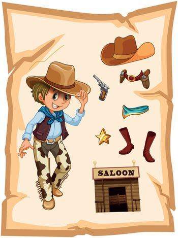 Illustration of a special paper with an image of a cowboy on a white background