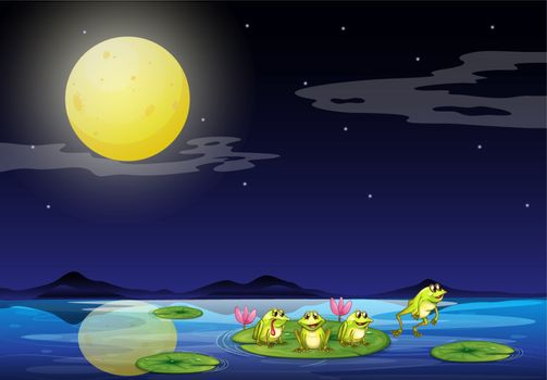 Illustration of the frogs at the waterlilies in the river