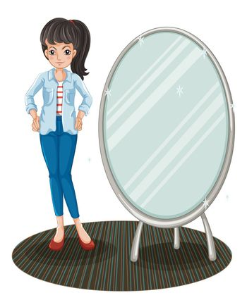 Illustration of a girl with a jacket standing beside a mirror on a white background