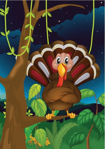 Illustration of a turkey standing on a branch of a tree