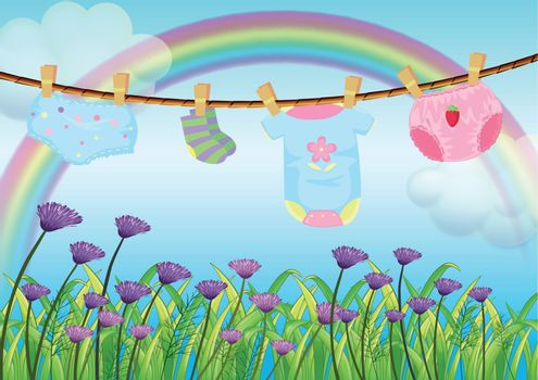 Illustration of a child's clothes hanging above the garden