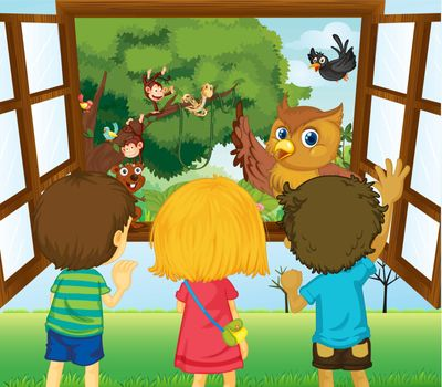 Illustration of the three kids watching the different animals in the forest