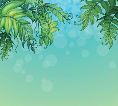 Illustration of a blue background with green leafy plants