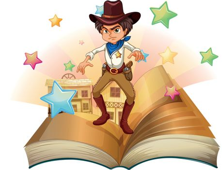 Illustration of a book with a cowboy and stars on a white background