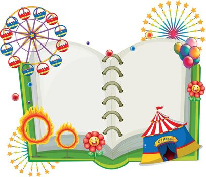 Illustration of an empty book with the things found at the carnival on a white background