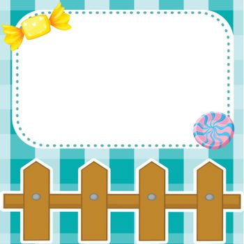 Illustration of a stationery design with candies and fence