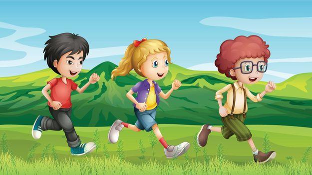 Illustration of kids running across the hills