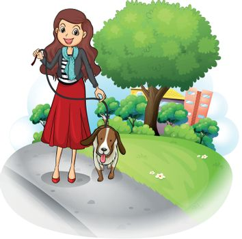Illustration of a woman with her dog at the road on a white background