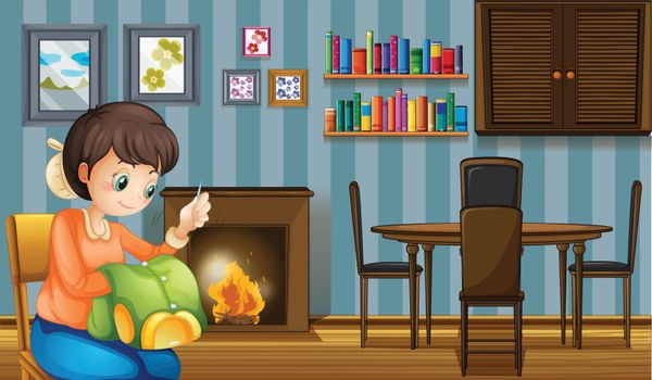 Illustration of a mother sewing near the fireplace
