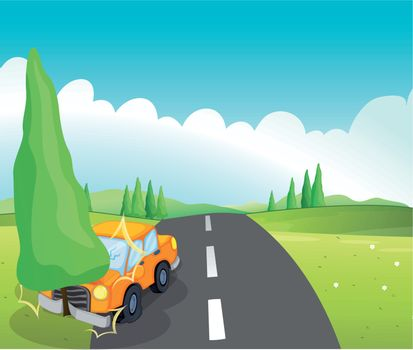 Illustration of an orange car bumping the pine tree