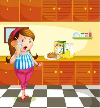 Illustration of a fat lady holding a glass of orange juice