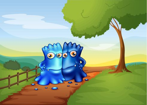 Illustration of the two bestfriend monsters going to the farm