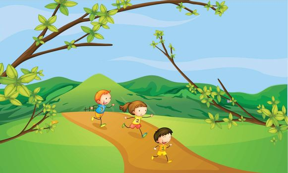 Illustration of kids playing in the hills