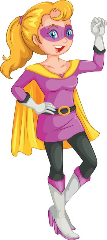 Illustration of a female superhero with a cape on a white background