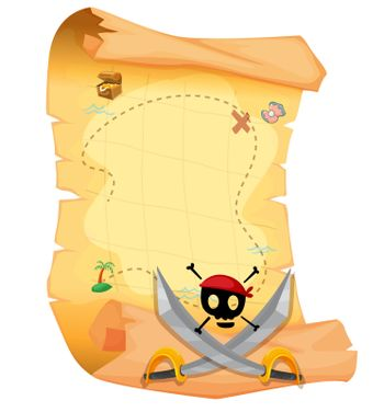 Illustration of a treasure map with a skull and sharp swords on a white background