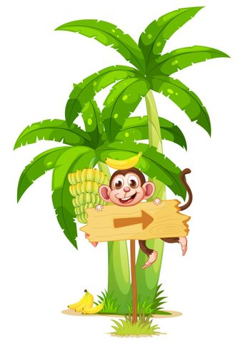 Illustration of an arrowboard with a monkey near the banana plant on a white background