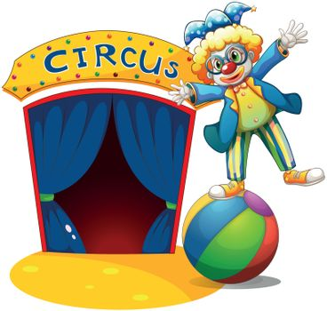 Illustration of a clown at the top of the ball beside a circus house on a white background