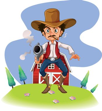 Illustration of a cowboy with a gun on a white background