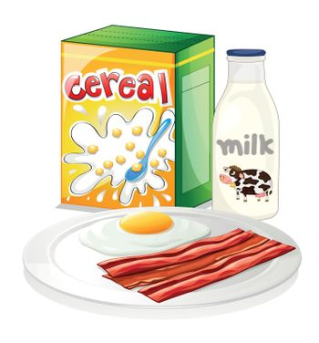 Illustration of a complete breakfast meal on a white background