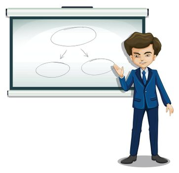 Illustration of a man discussing the flowchart in the bulletin board on a white background
