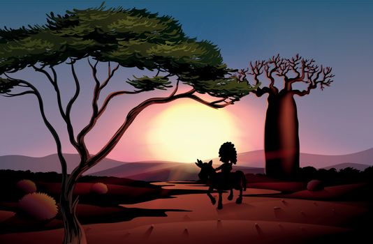 lllustration of a sunset scenery